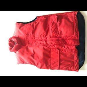 Zippered red draw string winter Vest